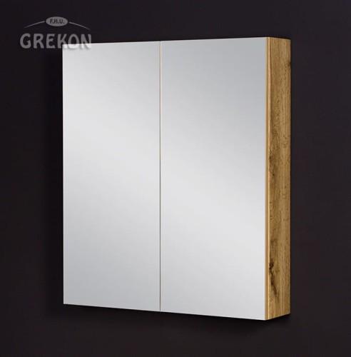 Szafka łazienkowa Z Lustrem Dąb Naturalny 70x80cm Fokus