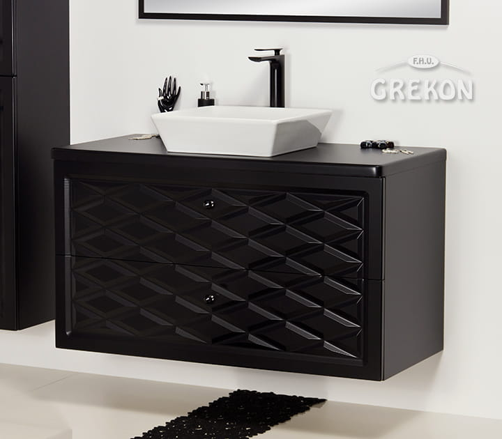 Zupełnie nowe Szafka łazienkowa czarna 103cm COBRA z umywalką | GREKON.pl JR79