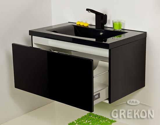 Zaawansowane Szafka łazienkowa czarna 80cm DIAMOND z umywalką | GREKON.pl DU41