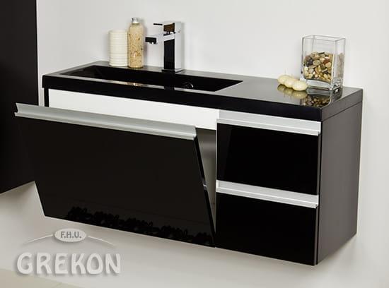 Chłodny Szafka łazienkowa czarna 90cm QUENO z umywalką | GREKON.pl DF39