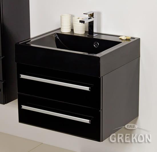 Modne ubrania Szafka łazienkowa czarna 60cm FOKUS z umywalką czarną | GREKON.pl SB44
