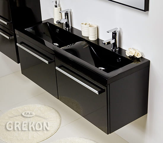 Nowoczesna architektura Szafka łazienkowa czarna 120cm FOKUS z umywalką czarną | GREKON.pl KB91
