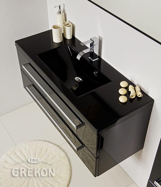 Bardzo dobry Szafka łazienkowa czarna 100cm FOKUS z umywalką czarną | GREKON.pl ET74